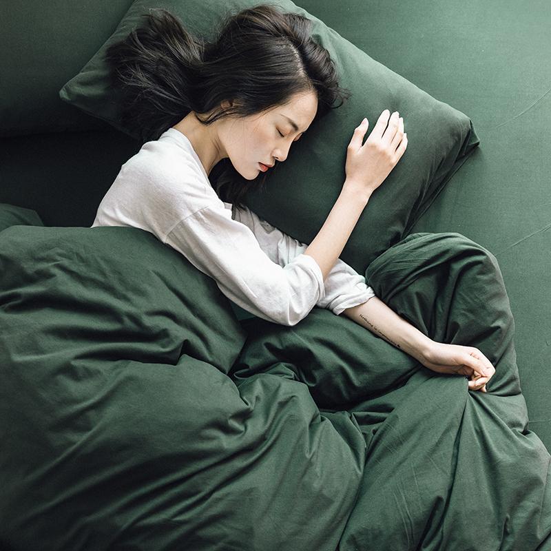 网红款裸睡纯色全棉床上四件套针织棉天竺棉被套床单床笠床品1.8m