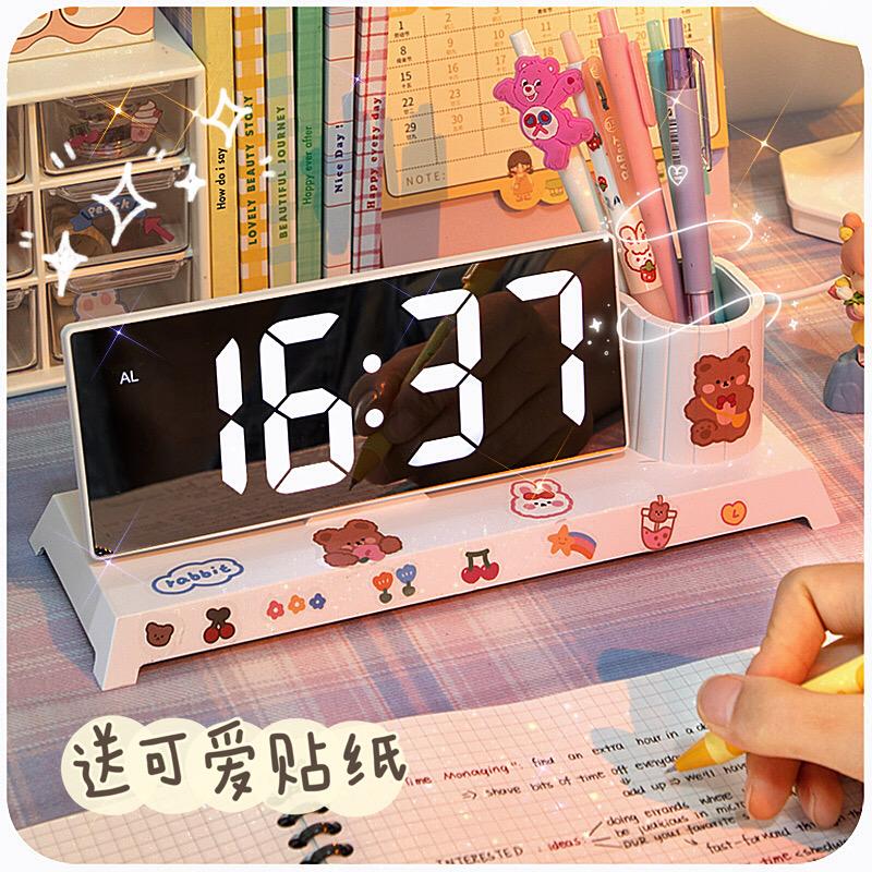ins笔筒闹钟学生专用2021新款起床神器强力叫醒儿童女孩桌面时钟
