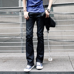 Promotion of British leisure micro speaker primary color low waist slim long mens dark blue cotton stretch jeans