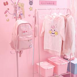 粉色少女心晾衣架落地卧室内简易衣帽架折叠置物架凉晒挂衣服架子
