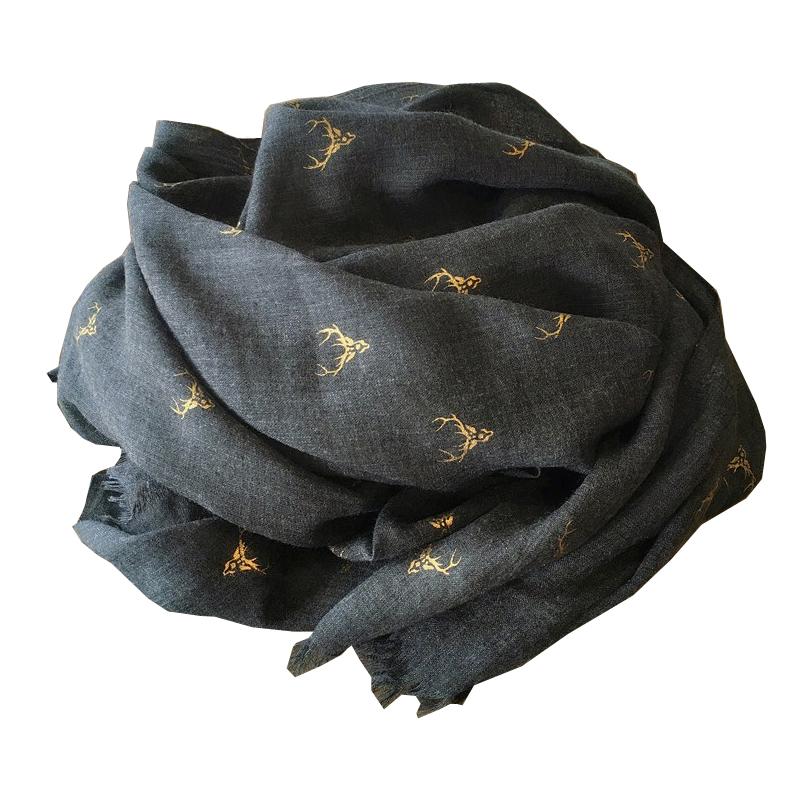 烫金麋鹿棉麻围巾女百搭韩版秋冬季两用超大披肩保暖黑色长款丝巾
