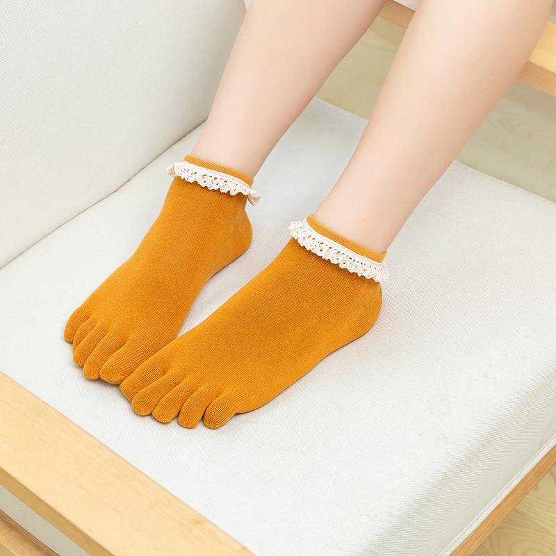 中國代購|中國批發-ibuy99|五指袜|特价花边女五指袜纯棉夏款短筒薄款甜美可爱分脚趾袜子防臭糖果色