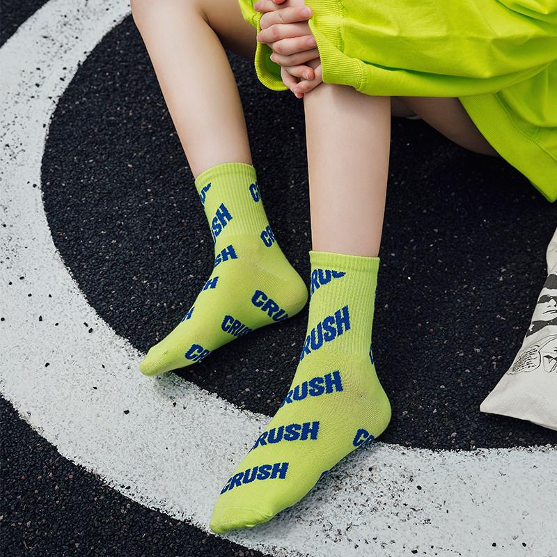 夏季彩色长袜子女中筒袜ins潮韩版学院风原宿运动凉鞋袜纯棉薄款