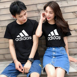 阿迪达斯运动套装情侣装男女短袖2020夏季新款运动服休闲大码T恤