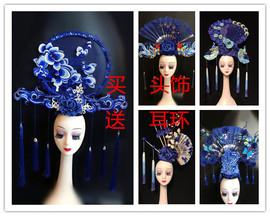 中国红青花瓷头饰走秀模特比赛夸张彩妆造型国潮古风旗袍发饰
