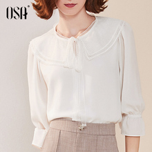 OSA White Lace Chiffon shirt autumn dress