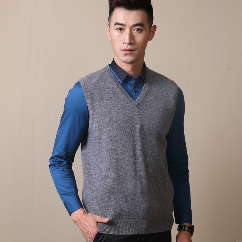 Cashmere vest, mens V-neck pullover, sleeveless vest, business casual jacket, pure cashmere sweater, knitted bottomcoat