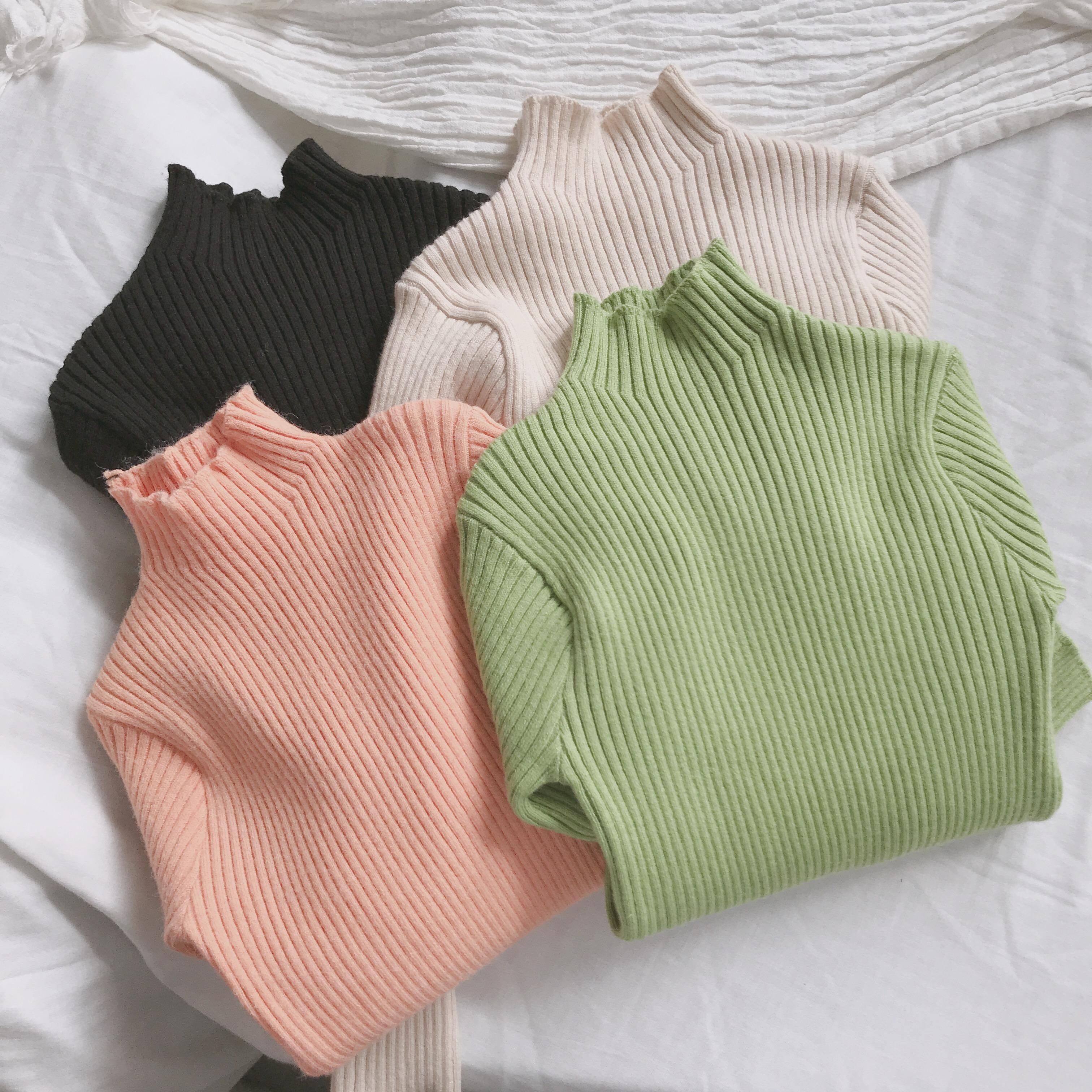 基础打底 那般男女童纯色半高领棉线针织毛衣 儿童弹力打底衫047图片