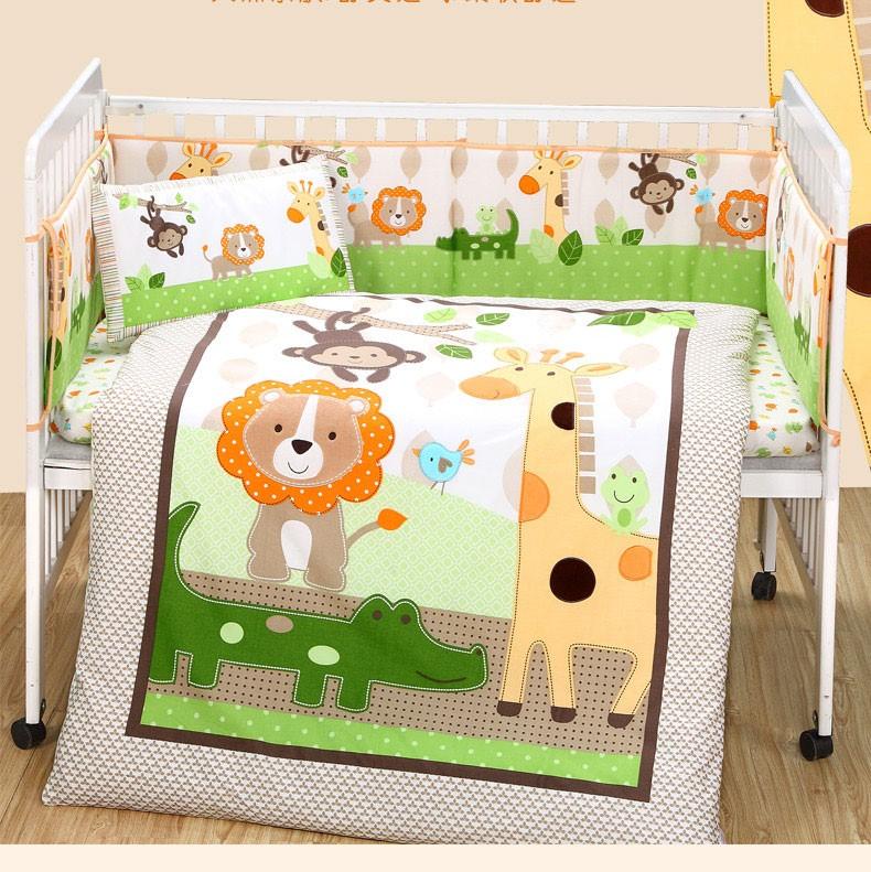 可定做 全棉婴儿床上用品套件九件套 可拆洗婴儿床围纯棉婴儿床品