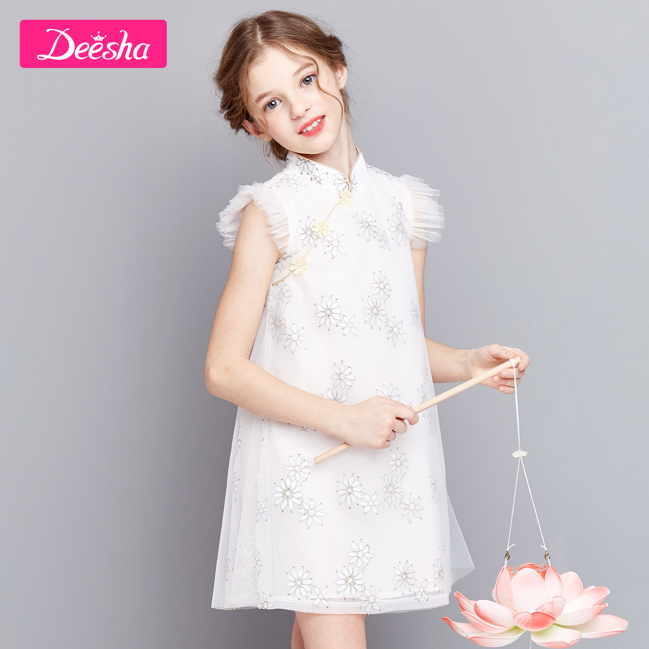 Descartes children's Dress Girls' dress 2020 summer new style elegant Hanfu cheongsam children's skirt princess skirt