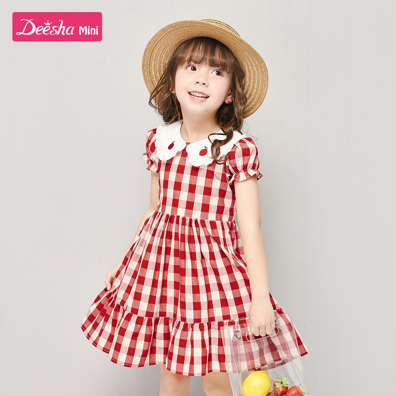 Desa children's Dress Girls' baby dress 2020 summer new net red foreign style Plaid children's skirt princess skirt