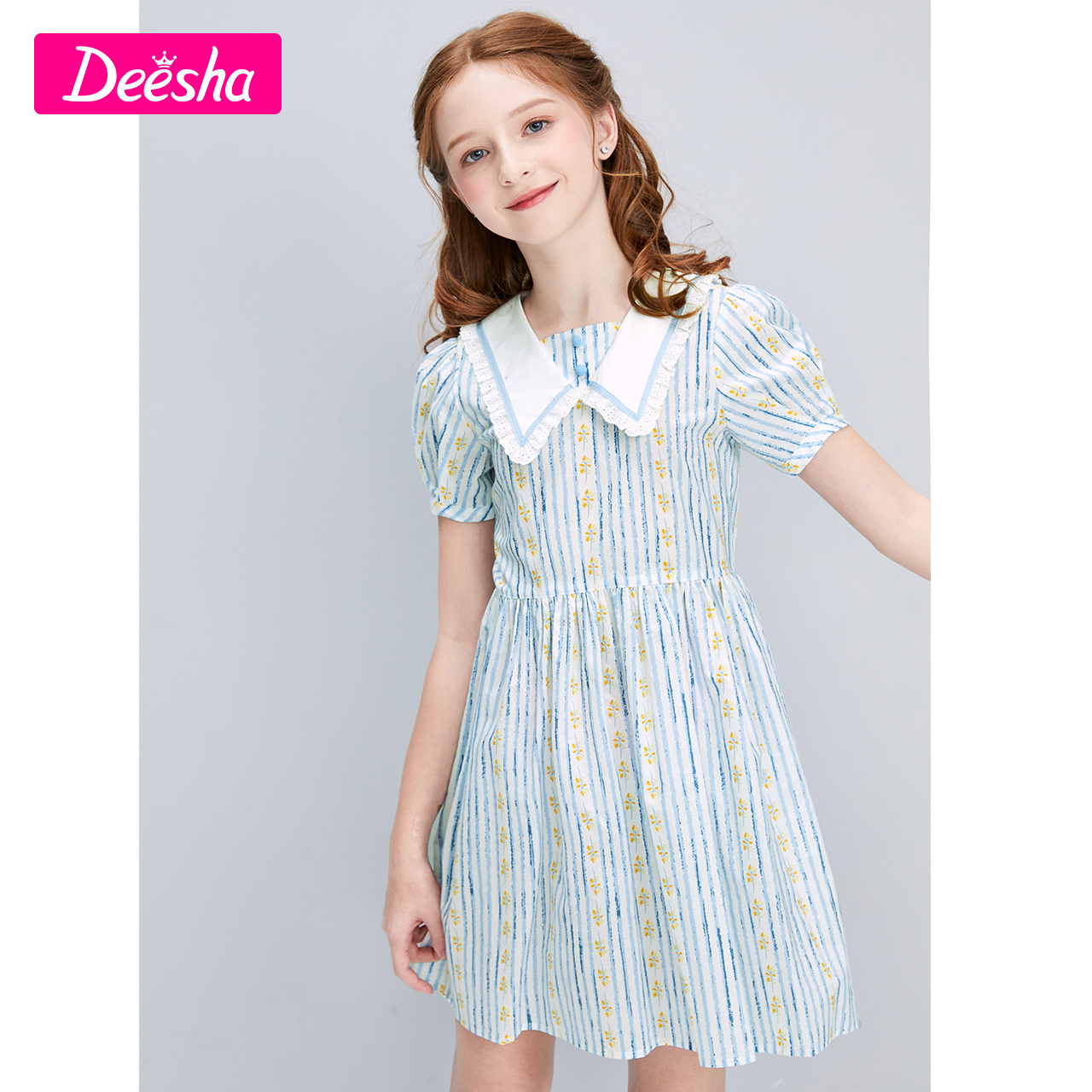 Fang Sha children's clothing girl skirt 2021 summer new big children children girl qi lace ribbed dress