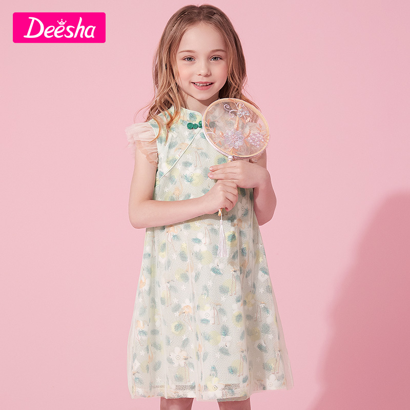 Fang Sha children's clothing girls dress 2021 summer new foreign qi retro cheongsam Chinese children's skirt grandfler