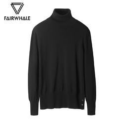商场同款马克华菲针织衫男士2018冬季新款黑色高领毛衣套头衫