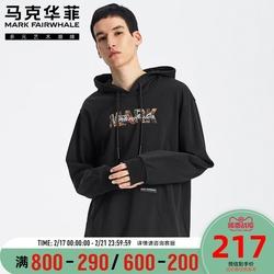 马克华菲卫衣男2020春季新款潮流复古印花撞色刺绣ins连帽衫