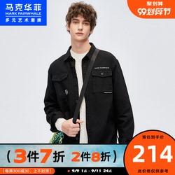 马克华菲潮牌男2020秋季新款字母刺绣韩范黑色衬衫式牛仔长袖外套