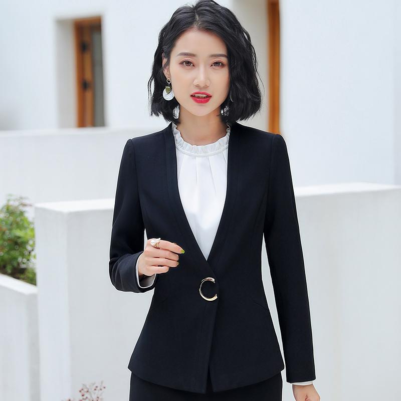 职业女装套装套裙气质西服正装秋冬新款时尚面试美容师工作服西装