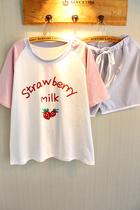 推荐!草莓睡衣女夏天休闲短袖短裤学生两件套装纯棉睡衣夏季薄款