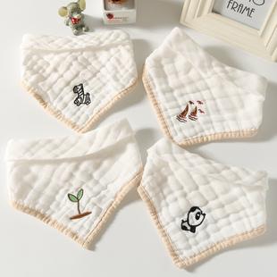 4条装婴儿纱布三角巾新生儿围嘴宝宝纯棉纱布口水巾透气柔软亲肤