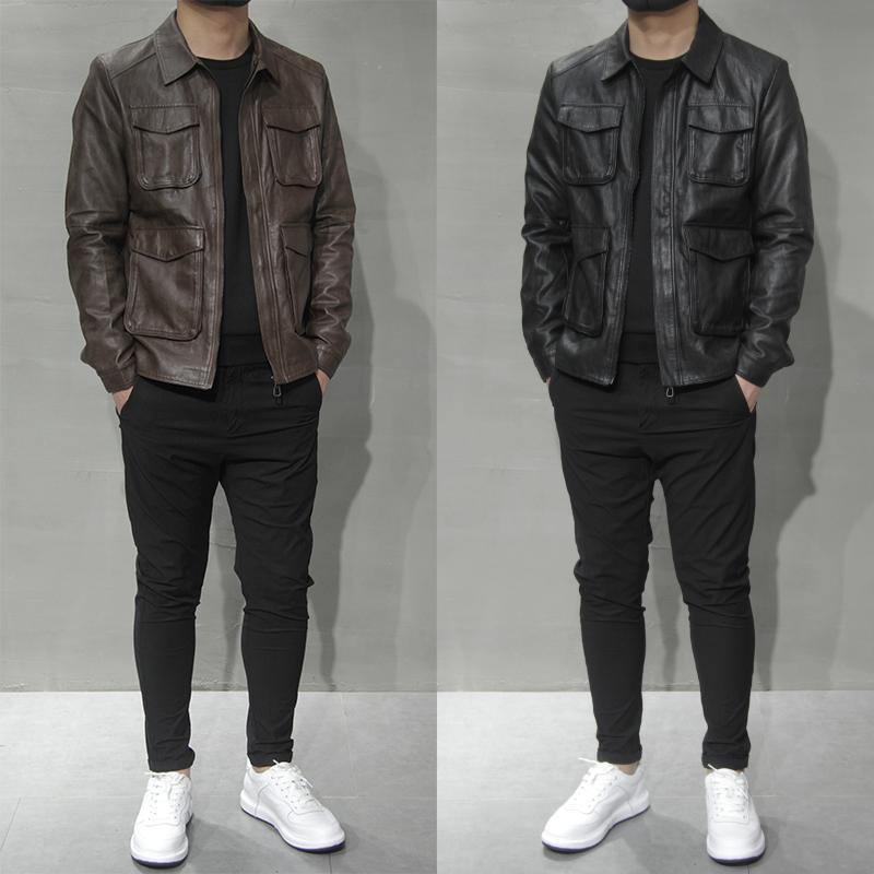 2021冬季新款皮夹克男多口袋上衣外套韩版修身休闲翻领PU机车皮衣