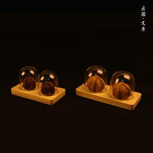 文玩核桃底座 竹底座 玻璃罩 文玩摆件展示架 葫芦核雕 防尘宝笼