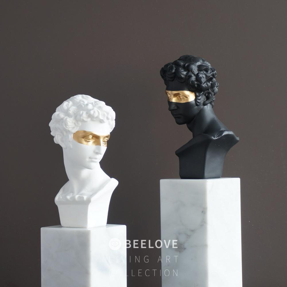 创意小卫眼罩头像金箔面具美术石膏像黑金树脂雕塑白金装饰摆件