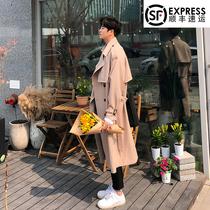 风衣男中长款过膝大衣韩版英伦风休闲潮流外套帅气时尚春季很仙