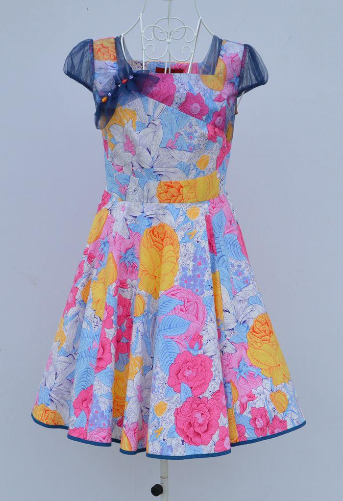 新款夏季日月坊品牌一字领蕾丝短袖碎花修身大摆型大码女装连衣裙