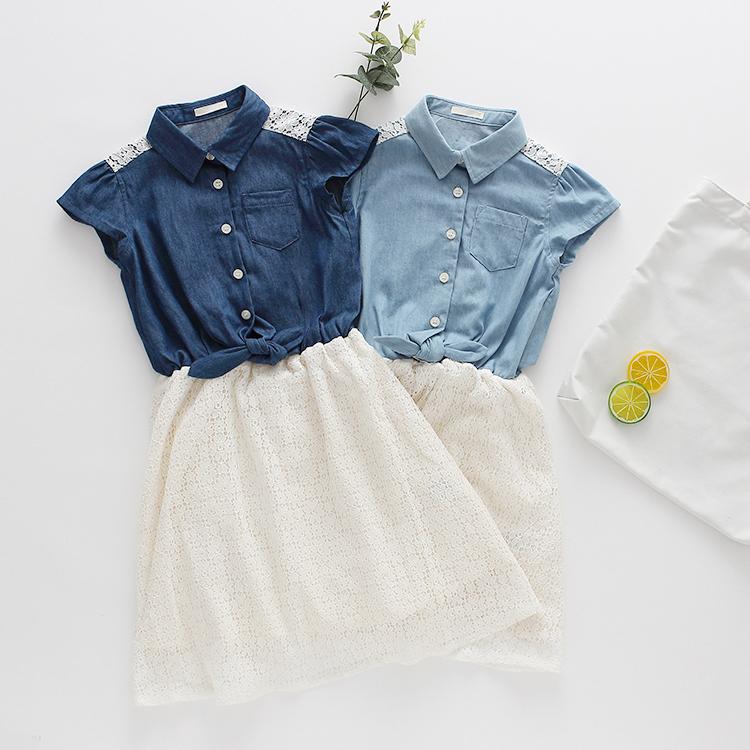 女童短袖连衣裙夏季新款牛仔裙子