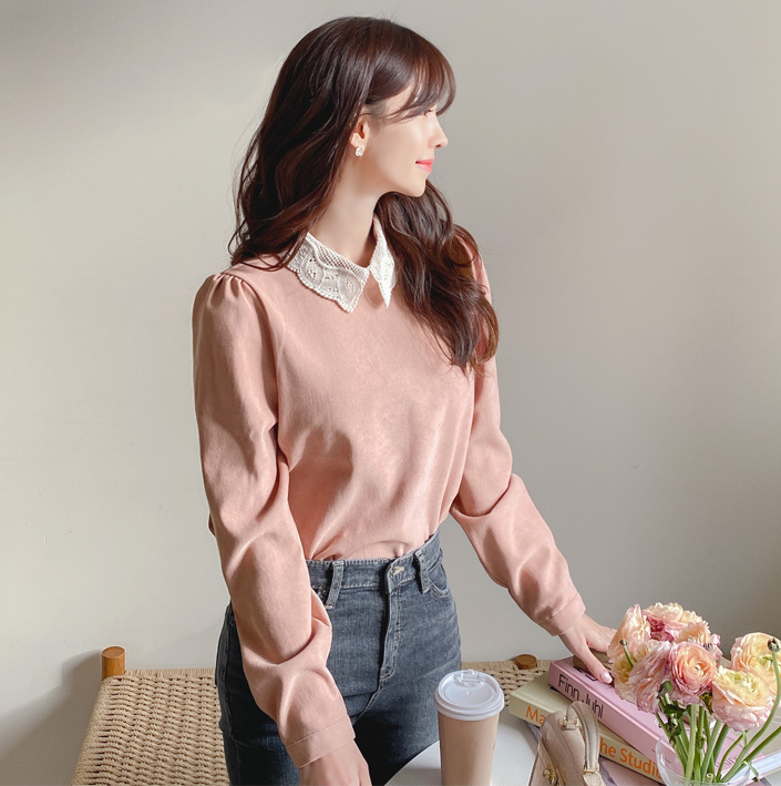 New Korean version of 2021 spring womens wear with lace embroidered baby collar