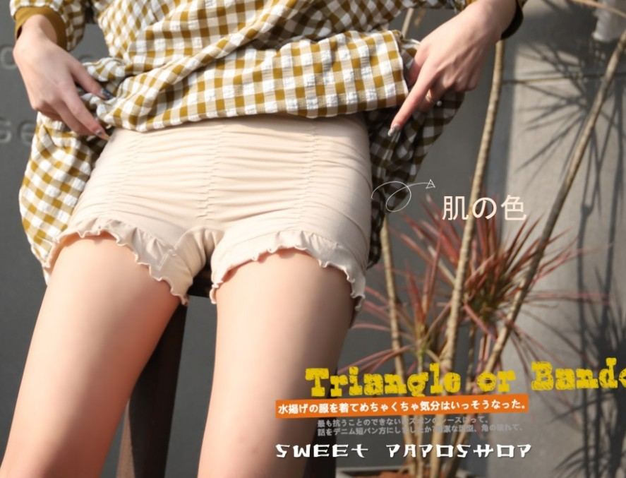 [50 pack mail] non sticky skin ~ Japanese spring and summer lotus leaf stripe cool and breathable womens light proof pants