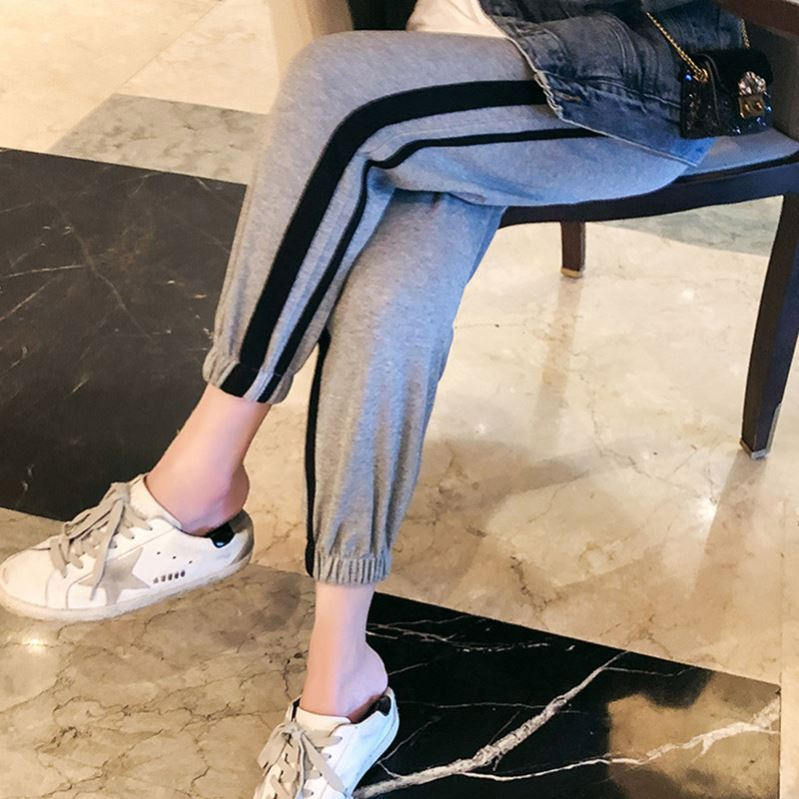 Maternity dress 2021 spring dress 9 / 4 black casual pants color matching striped cotton grey pants