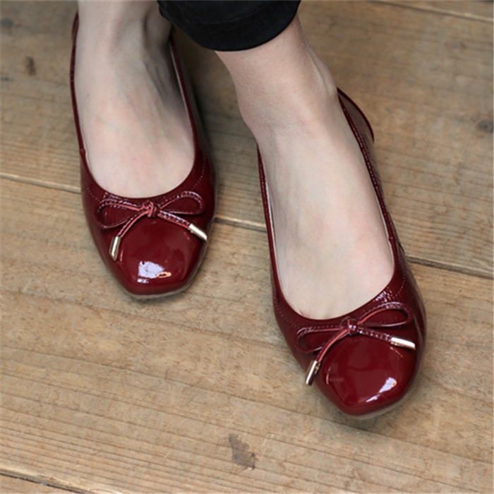 Classic bow ballet breathable top layer Leather Handmade flat sole womens shoes