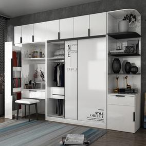 北欧滑门推拉门卧室组装木质大衣柜