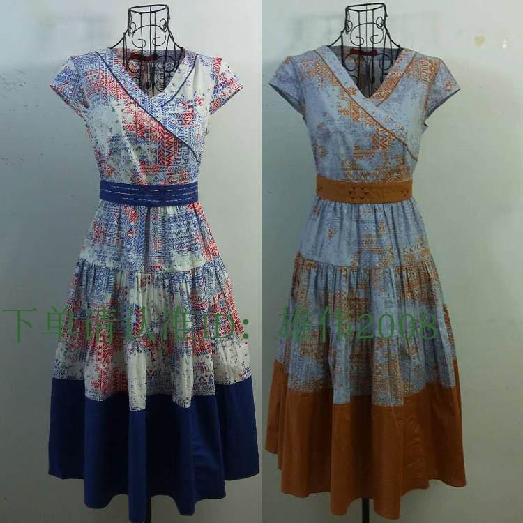 2018夏季新款日月坊女装专柜正品复古纯棉印花中长连衣裙R18X914