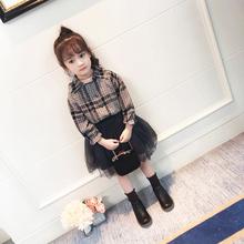 童装女童冬装套装2018新款韩版时尚套裙儿童格子加绒衬衫两件套