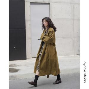 欧阳喜中长款女冬装新款韩版风衣