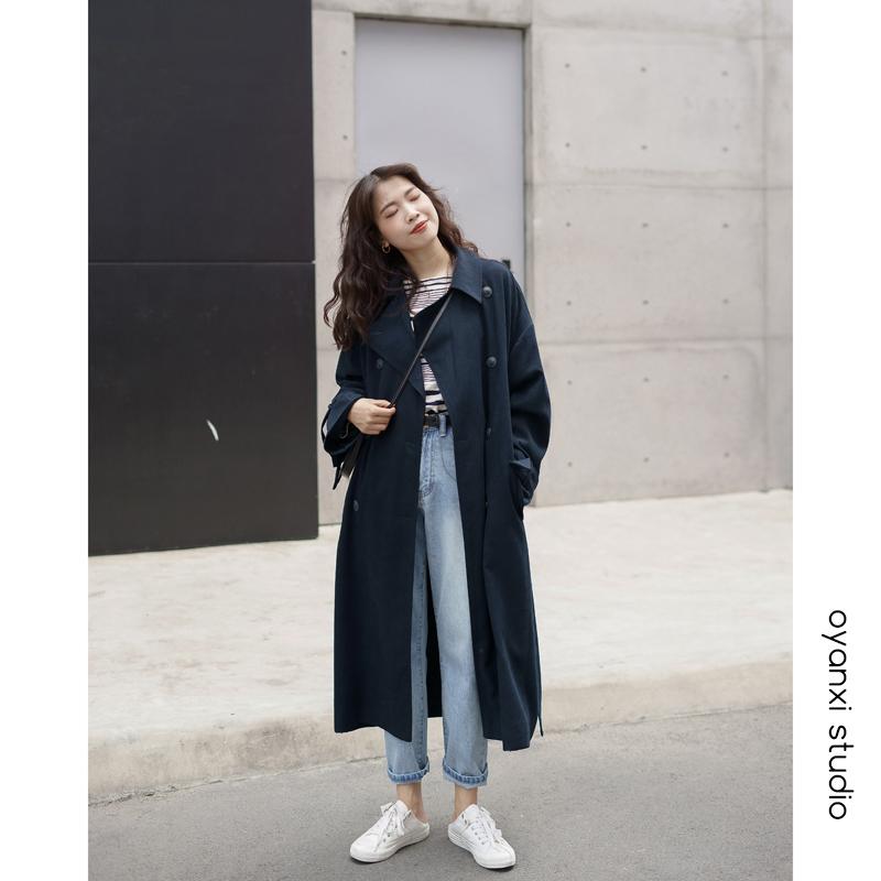 欧阳喜中长款风衣女 冬装新款韩版宽松过膝大衣开衫翻领气质外套