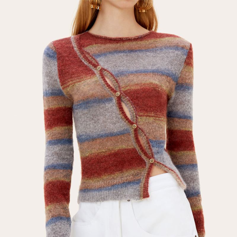 New striped Mohair mesh knitwear for aw2020