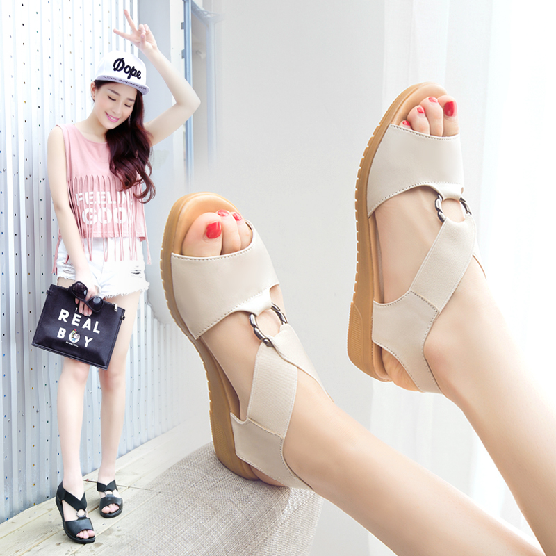 Genuine leather pregnant womens sandals womens summer flat heel 2019 new nurses shoes