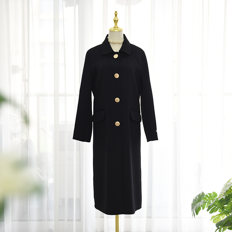 Korean version straight tube metal buckle albaca wool double faced overcoat medium long Australian wool woolen coat