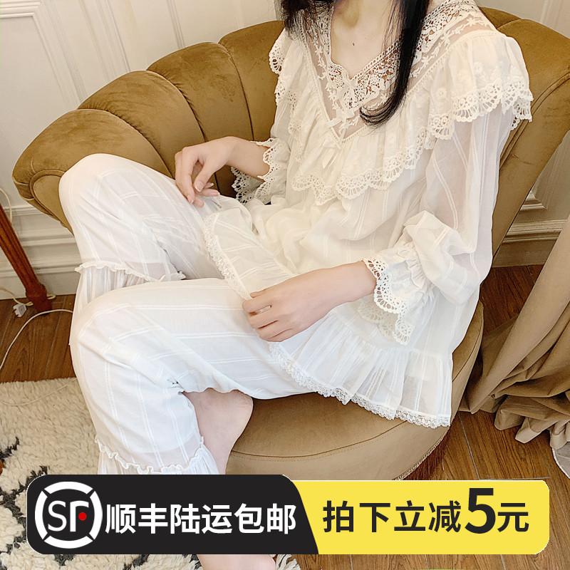 长袖睡衣夏季女纯棉空调春秋甜美可爱公主风蕾丝宫廷风家居服套装