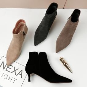 尖头裸靴2020新款小跟磨砂真皮女鞋