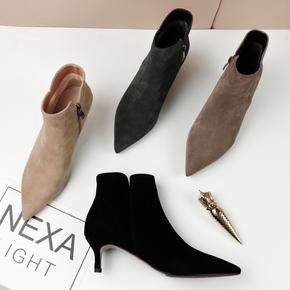 尖头细跟裸靴2020新款单靴小跟磨砂真皮春秋低跟踝靴中跟短靴女鞋