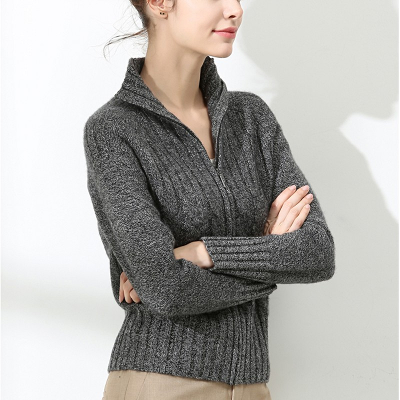 New pure cashmere cardigan in autumn and winter womens half high neck zipper twisted jacket thickened short sweater