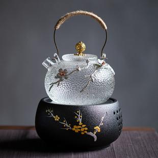 日式锤纹耐热玻璃提梁壶电陶炉煮水泡茶壶烧水壶养生壶家用煮茶炉