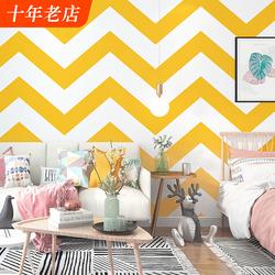 波浪纹墙纸暖黄色北欧风格几何小清新简约客厅卧室电视背景墙壁纸