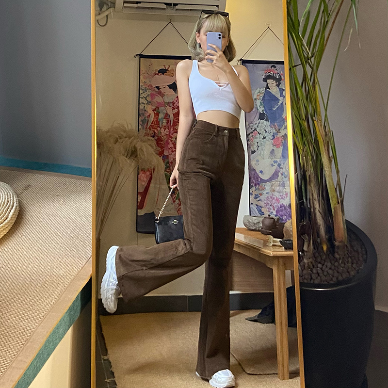 gagaopt 新品高腰棕色坑条棉喇叭裤子女显腿长修身提臀休闲长裤潮