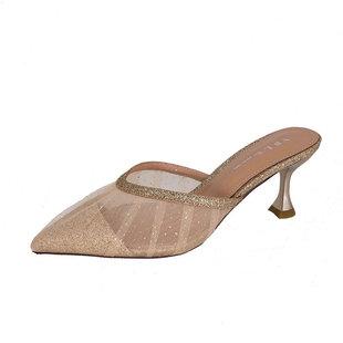 包頭半拖鞋女2020夏新款尖頭外穿網紅仙女拖鞋高跟細跟網紗涼拖鞋