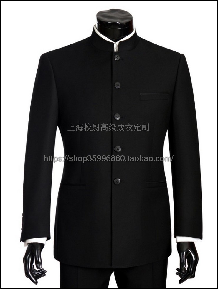 Customized mens size middle aged standing collar suit tailored Zhongshan suit tailored youth suit
